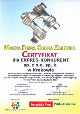Dyplom Mocna Firma Godna Zaufania 2017